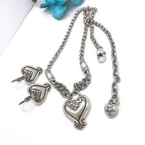 Brighton retired heart silver necklace earrings